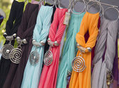 Colorful scarfs on the market — Stock Photo
