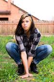 Ritratto bella ragazza all'aperto — Foto Stock