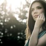 Beautiful woman in nature scenery — Stock Photo