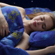 Sleeping Girl at night — Stock Photo