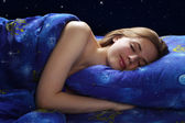 Sleeping Girl at night — Stockfoto