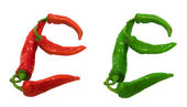 Letter E composed of green and red chili peppers — Stock Photo