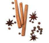 Cinnamon sticks, anise stars and black peppercorns — Stock Photo