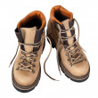 Pair of hiking boots isolated on white background — Stock Photo
