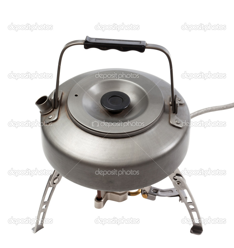 Camping gas stove and teapot. Isolated on white background — Stock Photo #11642279