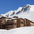Hotel in winter mountains — Stock Photo