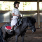 Child riding a pony — Stock Photo