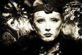 Chronos. Black and white with sepia tonning female portrait. Tim — Stock Photo