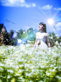 牧草地の夏の時間。抽象的な女性の肖像画 — ストック写真