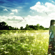 Stock Photo: Summer time on meadow. Abstract female portrait