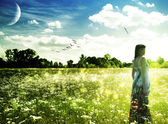 Summer time on the meadow. Abstract female portrait — Foto Stock