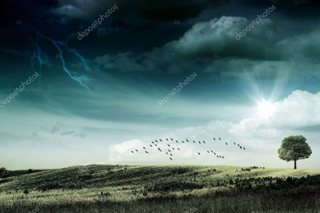 Last sunbeam before the hurricane. abstract natural backgrounds — Stock Photo #11111939