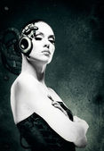 Mechanical woman. Abstract female portrait — Stock Photo