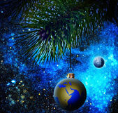Christmas decoration ball on the firtree. — Stock Photo