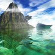 On the sea, natural backgrounds. 3D rendered image - Stock Photo