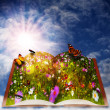 Fairy tale. Abstract fantasy backgrounds with magic book — Stock Photo