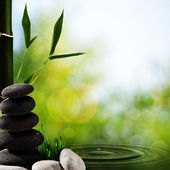 Abstract asian spa backgrounds with bamboo and pebble — Stock Photo