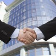 Businessman teamwork partners shaking hands — Stock Photo