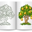 Pear tree with ripe fruits on book spread — Stock Vector
