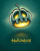 Terrible jack-o-lantern head for halloween card — Vector de stock