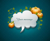 Thanksgiving day card with pumpkins and cloud for message — Stock Vector