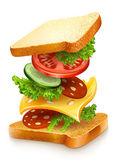 Geëxplodeerde weergave van sandwich ingrediënten — Stockvector