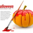 Halloween decoration with brush painting pumpkin - Stock Photo