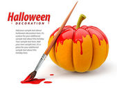 Halloween decoration with brush painting pumpkin — Stock Photo