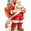 Royalty-Free Stock Vector Image: Santa Claus with sack full of gifts reading paper list
