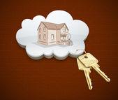梦想中的房子在云计算中的键 — 图库矢量图片