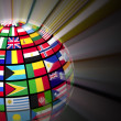 Stock Photo: Globe with world flags
