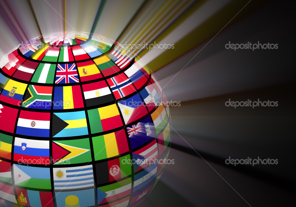 Global communication concept: glowing globe with world flags on black background — Stock Photo #10901521