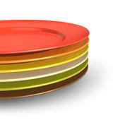 Set of color porcelain plates — Stock Photo
