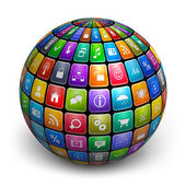 Sphere from color application icons — Stock Photo