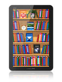 Bookshelf in tablet computer — Stock Photo