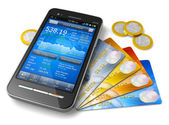 Mobile banking and finance concept — Stock Photo