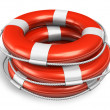 Stack of red lifesaver belts - Stock Photo