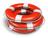 Stack of red lifesaver belts — Stock Photo