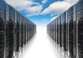 Cloud computing e o conceito de redes de computadores — Foto Stock