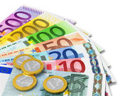 Set of Euro banknotes and coins — Stock Photo