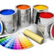 Cans with color paint, roller brush and color guide - Foto Stock