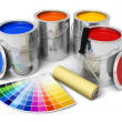 图库照片: Cans with color paint, roller brush and color guide