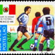 LAOS - CIRCA 1985 World Cup Soccer — Stock Photo