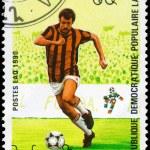 LAOS - CIRCA 1990 World Cup Soccer — Stock Photo