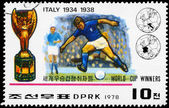 Corea del norte - alrededor de 1978 ganadores de copa del mundo italia — Foto de Stock