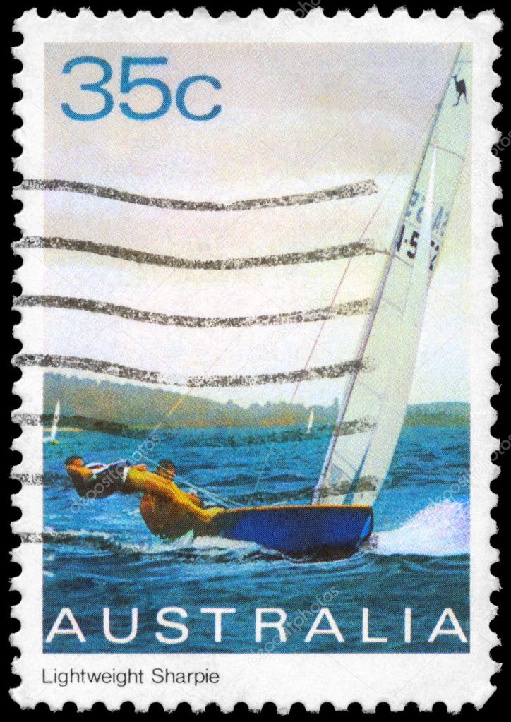 AUSTRALIA - CIRCA 1981: A Stamp printed in AUSTRALIA shows the Lightweight Sharpie, Yacht series, circa 1981  Stock Photo #12380738