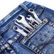 Tools in jeans pocket — Stock Photo