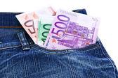 Money in jeans pocket — Stock Photo