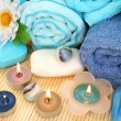 Towels, candles and stones — Stock Photo #10746132