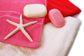 Towels and soaps — Stock Photo